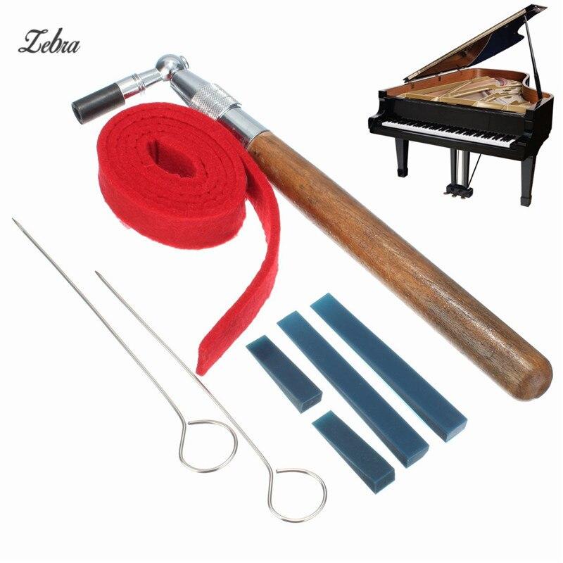 Zèbre 1 Set Piano Tuning Marteau Muet Kit Outils Tuning Marteau + Tempérament Bande + Muet Poignées + Longs En Caoutchouc muets + Courtes Sourdines Caoutchouc