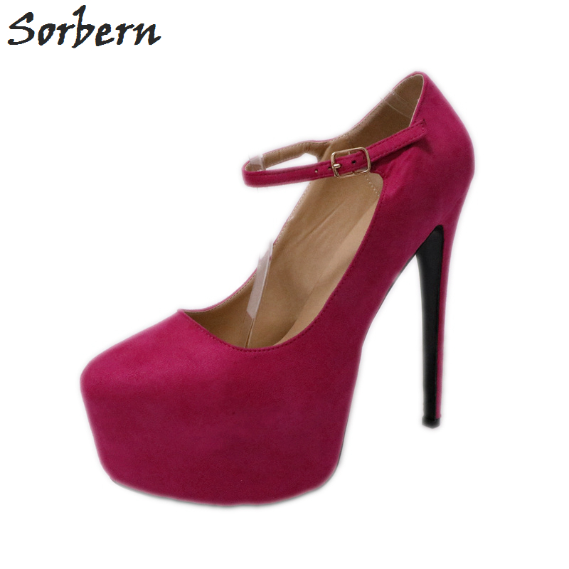 Sorbern Multi Colors Mary Jane Heels Women Pump High Heels Round Toe Thick Platform Women Platform Shoes Dress Shoes For Women все цены