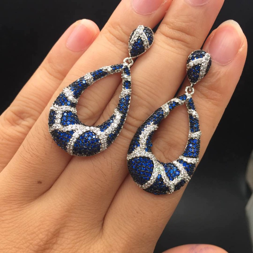Elegant Stunning Designer Accessories Blue AAA Cubic Zirconia Stone Flower Pendant Party Earrings For Women Ear Jewelry