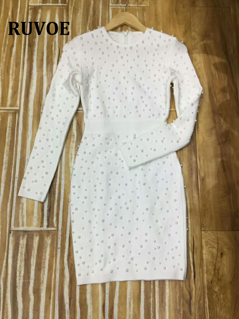 2018 nouveau blanc plein de perles à manches longues hiver automne robe élégante célébrité Club femmes célébrité fête Bandage robe TQ 52 - 2