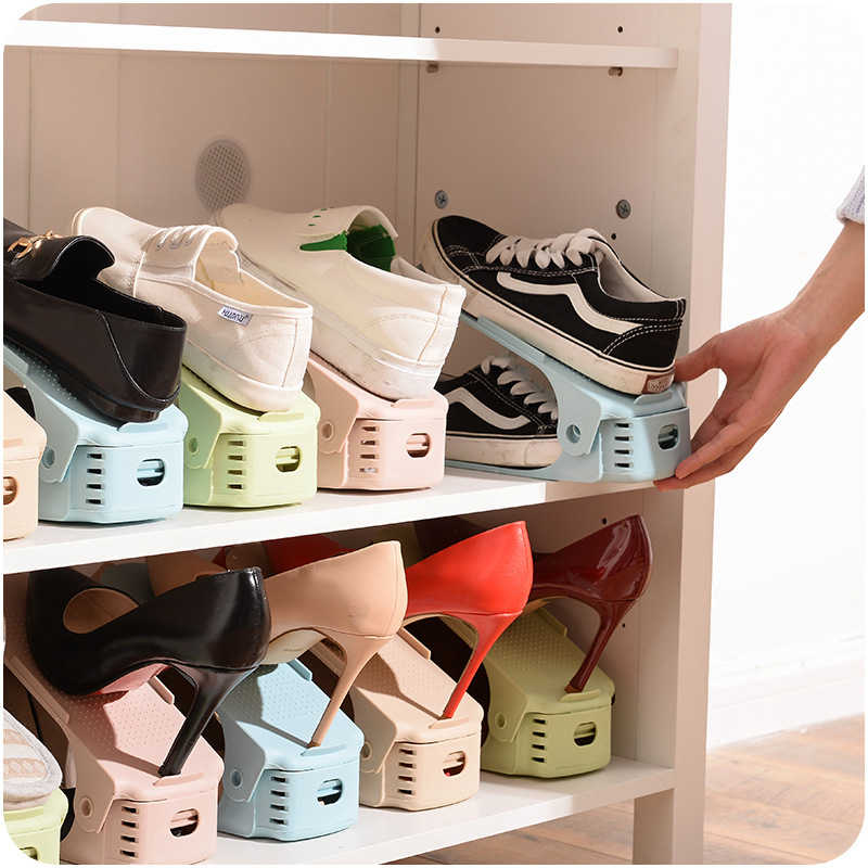 Adjustable simple double - layer plastic integrated shoe rack E206 shoe holder household power saving shoe storage rack