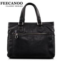 Feecano New Style Men Genuine Leather Vintage Handbag Briefcases Black Real Leather Shoulder bag Messenger bag Laptop bags