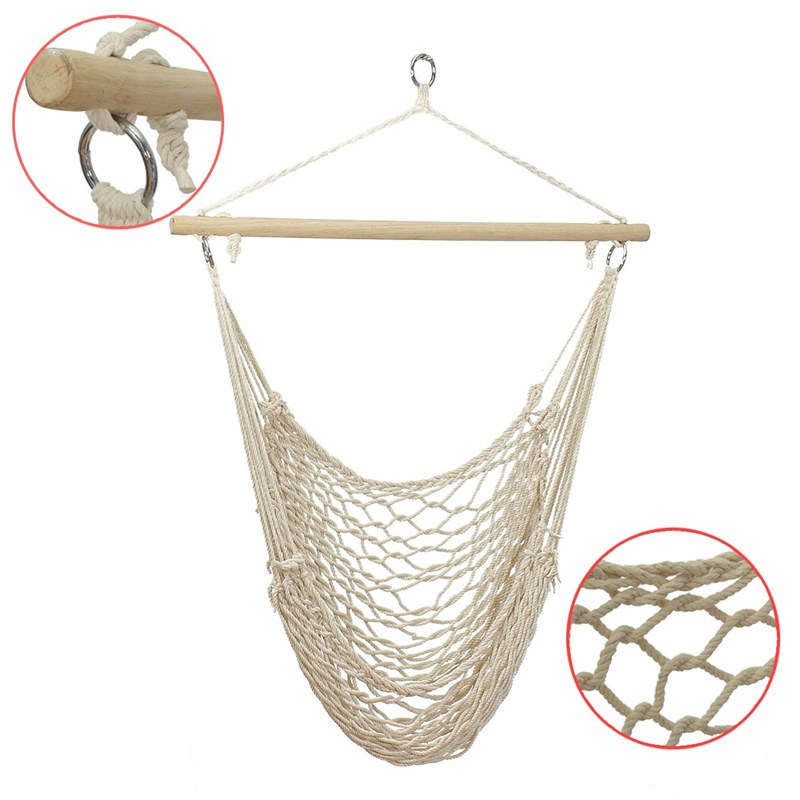 Furniture Alert Gsfy-white Outdoor Mesh Cotton Rope Swing Hammock Hanging On The Porch Or On A Beach Latest Fashion Outdoor Furniture