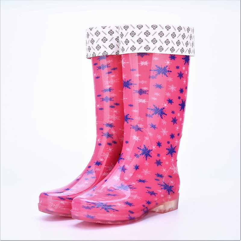 Women 39 s rain boots PVC crystal non slip wear resistant water shoes to keep warm high rain boots fashion rain shoes in Mid Calf Boots from Shoes