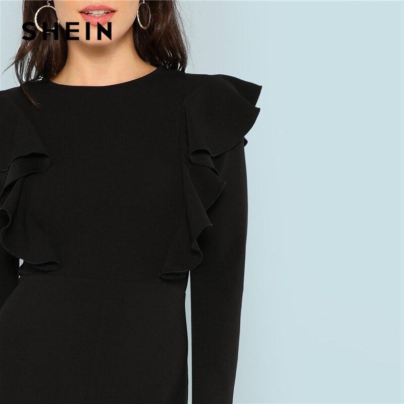 7c3528b0ac3 SHEIN Black Round Neck Plain Jumpsuit Elegant Mid Waist Wide Leg Maxi  Jumpsuits Women Autumn Ruffle Trim Palazzo Jumpsuit -in Jumpsuits from  Women s ...