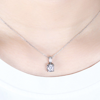 Transgems 14K White Gold 1.04CTW 6.5mm F Color Near Colorless Moissanite Pendant Necklace with Accents for Women Free Shipping 5