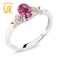 925 Sterling Silver And 10K Rose Gold Ring Pink Mystic Topaz With Diamond Accent