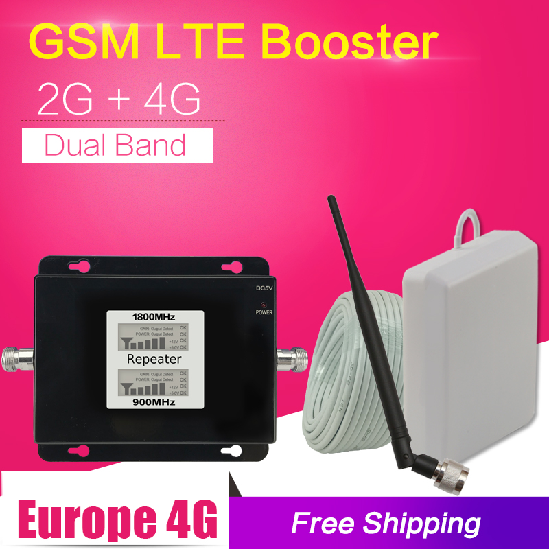 GSM 900 1800 Dual Band Cell Phone Signal Booster GSM LTE 4g Mobile Signal Rpeater 4g Cellular Signal Amplifier Antenna 13m Cable
