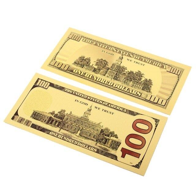 2 개/대 100 달러 지폐 가짜 돈 24K 골드 도금 달러 지폐 현실적인 골동품 도금 기념품 컬렉션 선물