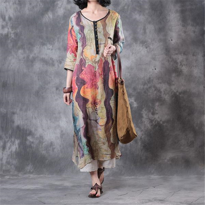 WUZHONGREN Summer Women Dress Colorful Linen Round Neck Three Quarter Sleeve Lady Dress Casual Loose Women Desses