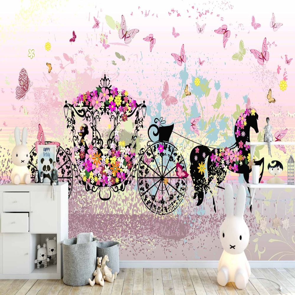 Else Pink Yellow Butterfly Flowers Horse Car 3d Print Cartoon Cleanable Fabric Mural Kids Children Room Background Wallpaper