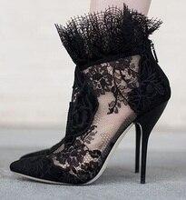 Elegant Women Black Lace Ankle Bootie Flower High Heel Stiletto Pumps Ladies Party Dancing Pump Shoes