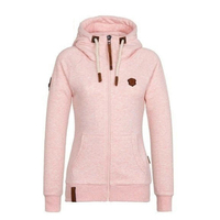 Lady Autumn Winter Hooded Zipper Warm Casual Coat Sport Long Sleeve Sweatshirt