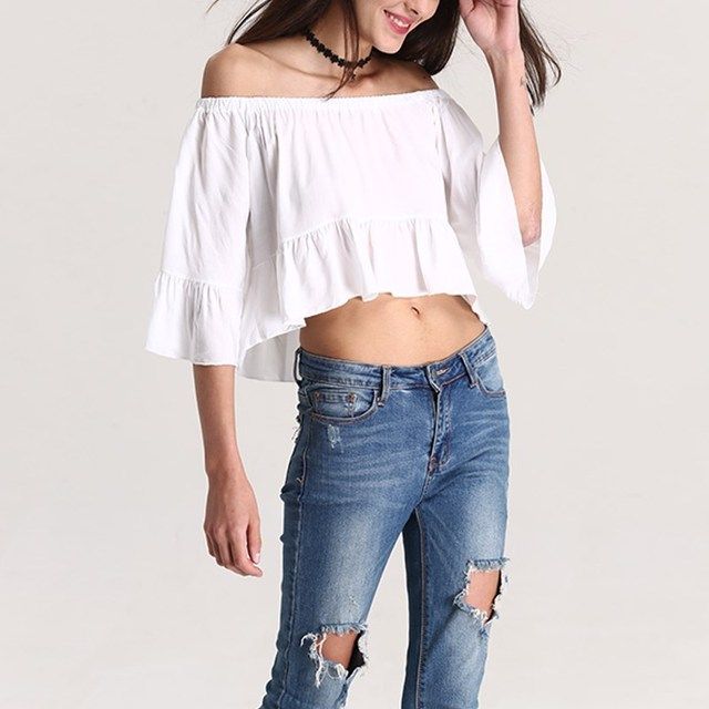 677b868e Women Off Shoulder Crop Tops Blouse Sexy White Elastic Strapless Pleated  3/4 Sleeve Blouse Thirts 2017 Summer Beach Party