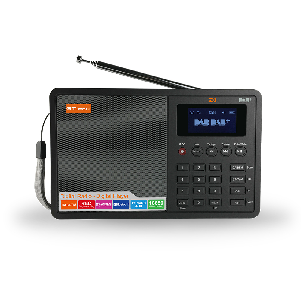 Portable Professional Black GTMedia D1 DAB+Radio Stero For UK EU With Bluetooth Built-in Loudspeaker