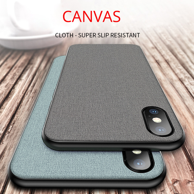 Original Genuine Canvas Cloth Case For iPhone X 8 8plus 7plus 6 6splus 5se 360 tpu full protect Fitted Cover for iphone xs max r