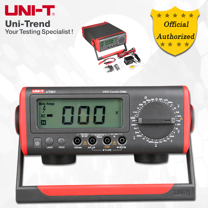 <font><b>UNI</b></font>-<font><b>T</b></font> <font><b>UT801</b></font>/UT802 Manual Range Benchtop Digital Multimeter; Resistance/Capacitance/Frequency/Temperature Test, LCD Backlight image