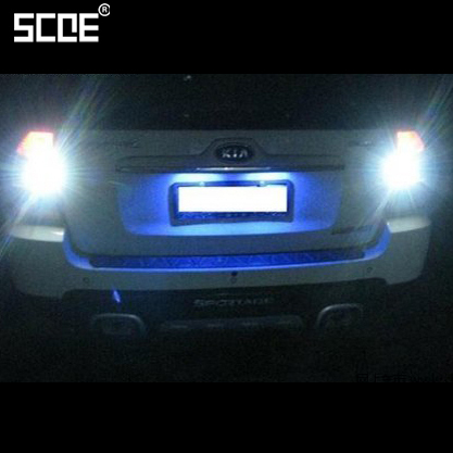 2 x SCOE LED Reverse Back Up Light Parking Bulb Source For Kia Sorento Sportage 2013 Car Styling Crystal Blue White scoe car styling 2x27smd led wiidth clearance light lamp bulb source for mazda 3 yellow red purple green crystal blue