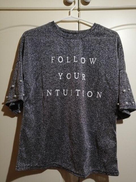 SweatyRocks Silver Half Sleeve Women  T-Shirt Drop Shoulder Pearl Beading Glitter Tee 2018 Summer Casual Round Neck T-shirt