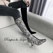 BHS 9011147 Chic Python Snakeskin Leather Suede Elastic Knee High Elegant 8CM Stilettos Heel Fashion Stylish Women Boots