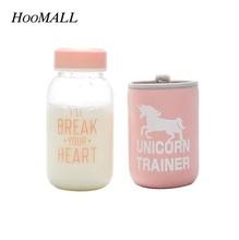 Hoomall 2017 Neue 600 ml Cartoon Unicorn Muster Glas Wasserflasche mit Tuch Schutz Abdeckung Enthalten Tee-ei Geschenke für mädchen