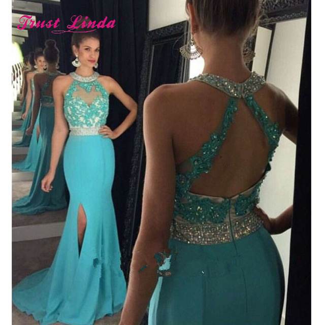 33a49369509 Turquoise Wedding Guest Dresses 2018 Halter Top Mermaid Women Elegant  Dresses For Weddings Bestidos De Fiesta Largos
