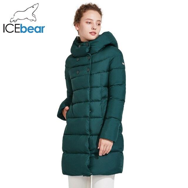 ICEbear 2017 Модная зимняя верхняя одежда средней длины на двухсторонней молнии тёплый красивый пуховик со стоячим воротником 16G6128D