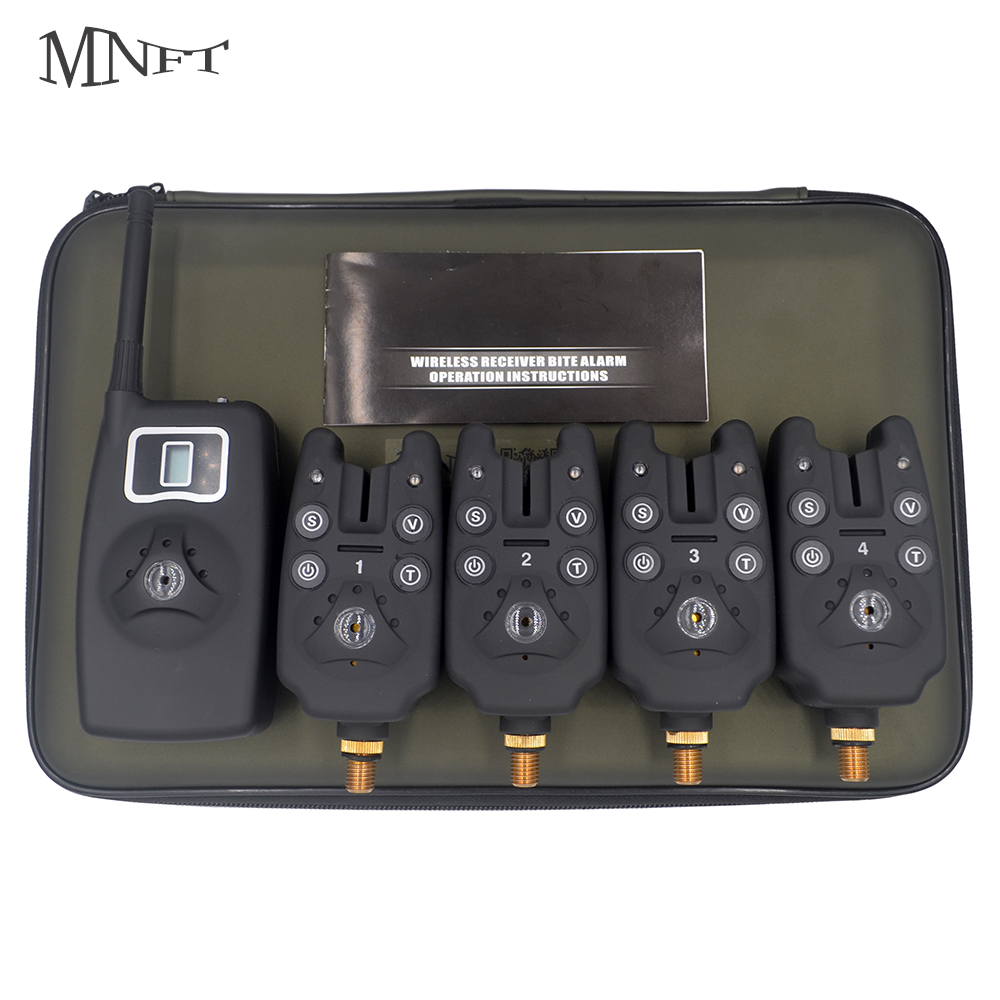 цена MNFT Wireless Fishing Alarm 4 Alarms+1 Receiver Swinger Electronic Multi-functional Black Portable Bites Alarm In EVA Case