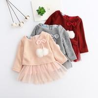 新生児赤ちゃんの女の子新しい秋冬赤ちゃんロングスリーブラウンドネックソリッドカラー編みウールセーターネット糸ブロンジングドレスAX056