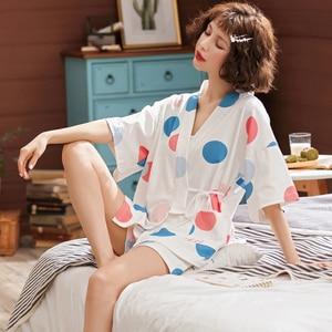 Image 4 - BZELฤดูร้อนขายร้อนชุดนอนชุดสำหรับMujer Vคอแขนสั้นชุดนอนผ้าฝ้ายKawaiiผู้หญิงNightyการ์ตูนสีDotชุดชั้นใน