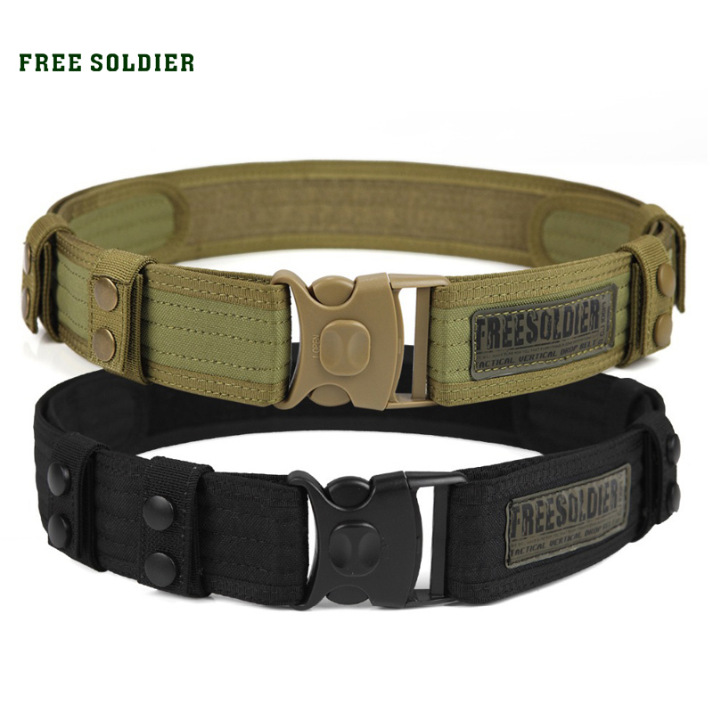 FREE SOLDIER Outdoor Sport Tactical Belt Accessories For Camping Hiking Molle Belt nylon Waist Belt For Men aotu outdoor camping portable single person nylon mesh swing hammock army green