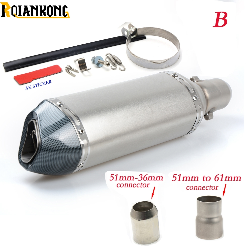 Dirt bike Inlet 51mm exhaust muffler pipe with 61/36mm connector For SUZUKI DR DRZ RMX DJEBEL 125L 200S 200SE 250R 250S 250XC