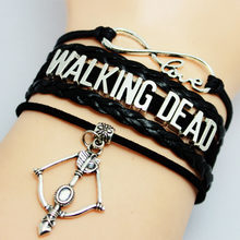 Drop Shipping Fashion Infinity Love Walking Dead Bracelet Black Braided Leather Bracelets for Men And Women as Friendship Gift(China)