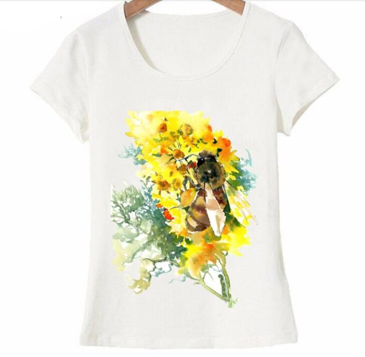 Nouveau modo d' été mujeres camiseta abeille miel et fleur jolie aquarelle arte séparation camiseta jeune décontracté hauts mujeres t -in Camisetas from Ropa de mujer    1