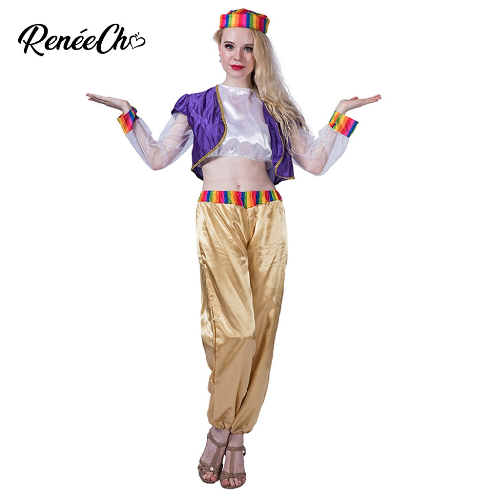 Women costume Lady Dreamy Genie Costume Halloween Costume Woman Sexy Carnival Party Magic Cosplay Coat Pants Hat Suit