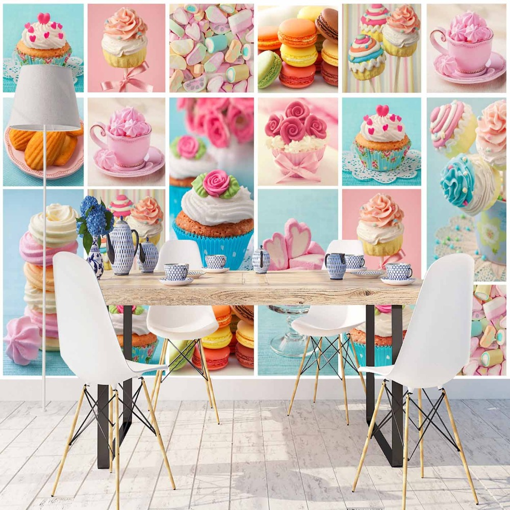 Else Pink Blue Yellow Cup Cakes Macaroon Patchwork 3d Print Photo Cleanable Fabric Mural Home Decor Kitchen Background Wallpaper