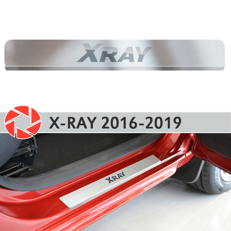 Door sills for Lada X-Ray 2016-2019 step plate inner trim accessories protection scuff car styling decoration laser letters for lada vesta 2015 2016 scuff plate door sill strip welcome pedal car styling stickers accessories 4 pcs