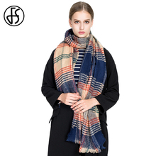 FS Soft Cashmere Scarf Women Tassel Color Striped Plaid Winter Warm 2018 Luxury Brand Wool Scarves Shawls Wraps Echarpe Pashmina