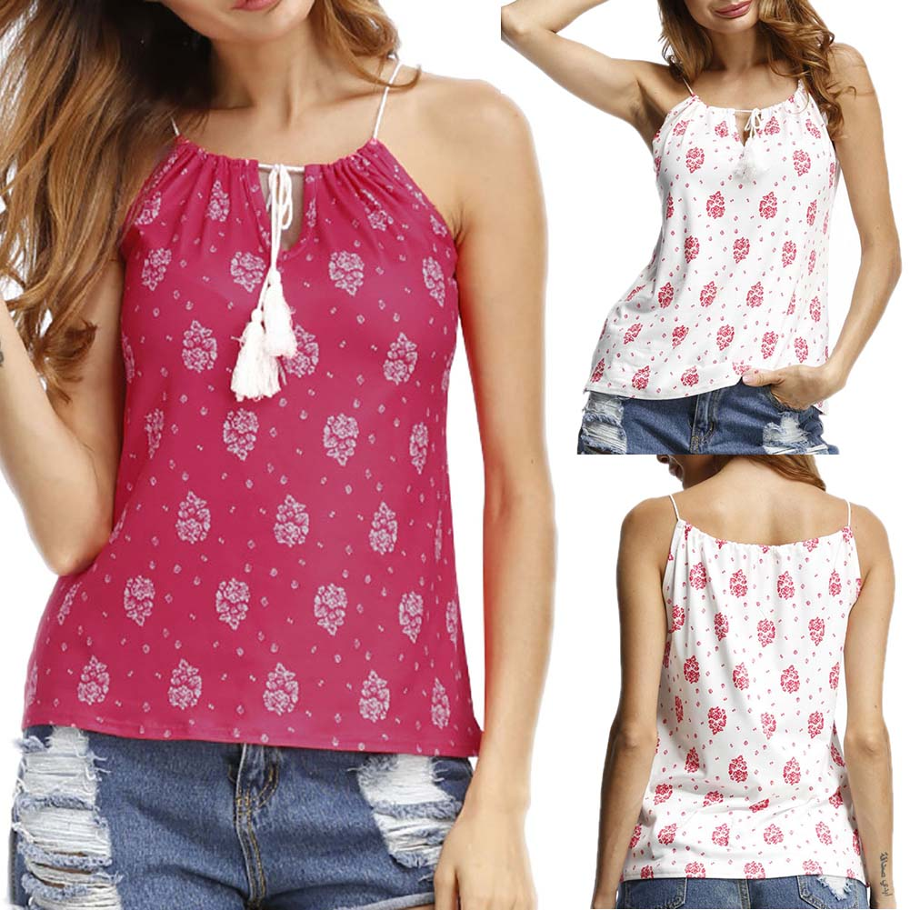 New Arrival  Original Summer Sleeveless  V Neck Women  Sexy Flower Print Cotton Strap Red And White Colors