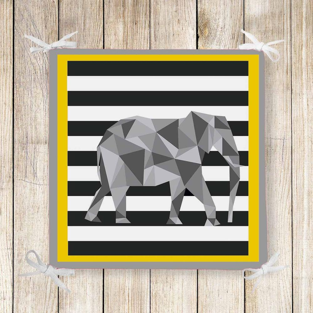 Else Yellow Black Lines Gray Elephant 3d Print Chair Pad Seat Cushion Soft Memory Foam Full Lenght Ties Non Slip Washable Zipper