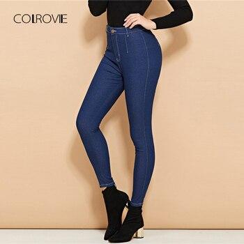 4e6b5e5b1c COLROVIE azul cintura alta Delgado Casual Jeans Denim de mujer de Otoño de  2018 bolsillo novio elástico de las mujeres