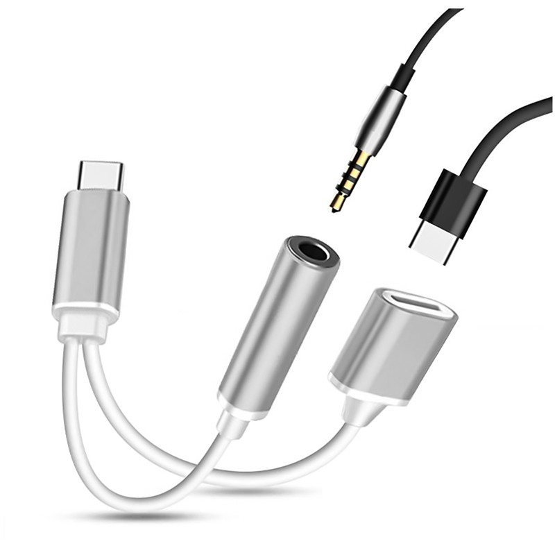 New 2 in 1 USB C Type C 3.5mm Audio Headphone Charger Type C Adapter Cable For Iphones for Motorola Audio Splitter Adapter Cable