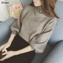 Korean Long Sleeve Women Sweaters Solid New Fashion Casual Loose Pullovers Half Turtleneck Ladies Knitted Sweater 65053 Xnxee
