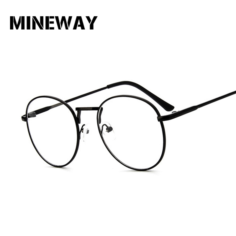MINEWAY Round Mirror Sun Glasses for Women Men Retro Metal Frame Eyeglasses Sunglasses Male Female Optical Glases Clear Lens