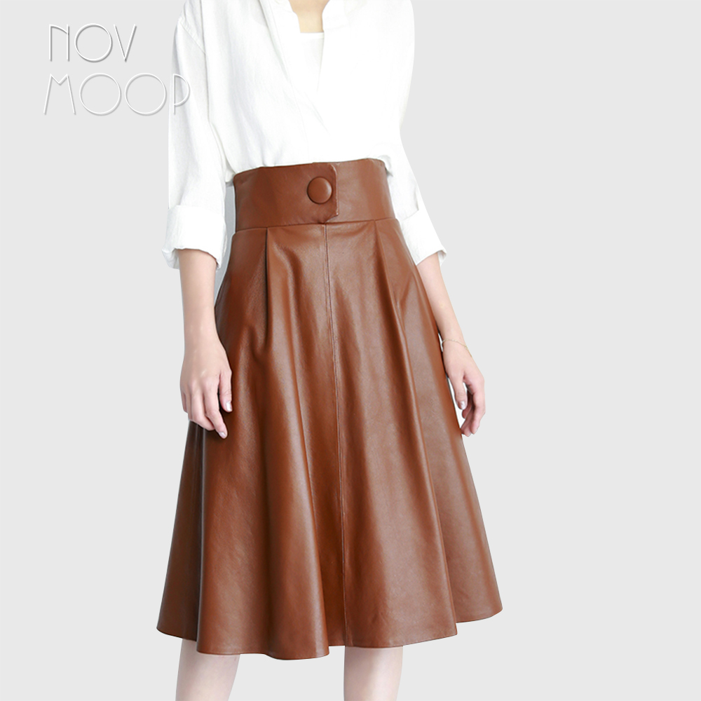Runway vintage style brown black genuine leather real lambskin one button high waist A Line skirt