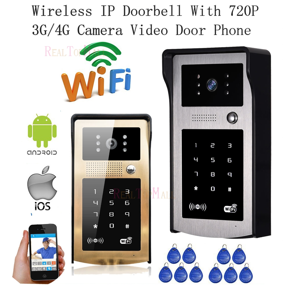 New Wireless IP Doorbell With 720P 3G / 4G Camera Video Phone WIFI Door bell RFID Code Keypad HD IR Cameras for IOS Android 8PCS 2016 new wifi doorbell video door phone support 3g 4g ios android for ipad smart phone tablet control wireless door intercom