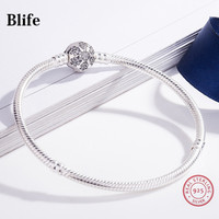 Luxury 100% 925 Sterling Silver Snowflake Buckle fit Denmark Charms Bracelet & Bangles For Women Original Jewelry Gifts