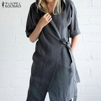 ZANZEA Spring Autumn Women Elegant Solid Hooded Straight Dress Casual Half Sleeve Cardigans Dress Shirts Plus