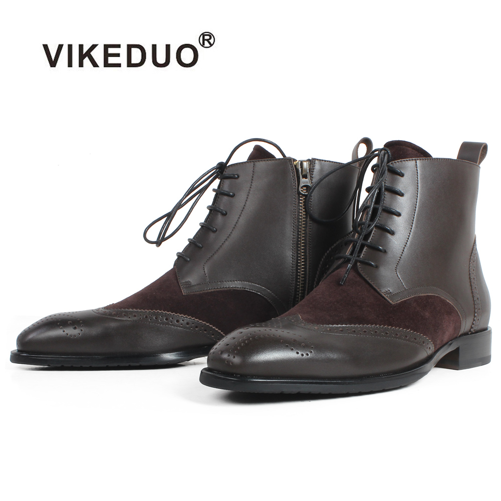 VIKEDUO Square Plain Toe 100 Genuine Cow Leather Boots Patina Handmade Full Brogue Men Boots Casual