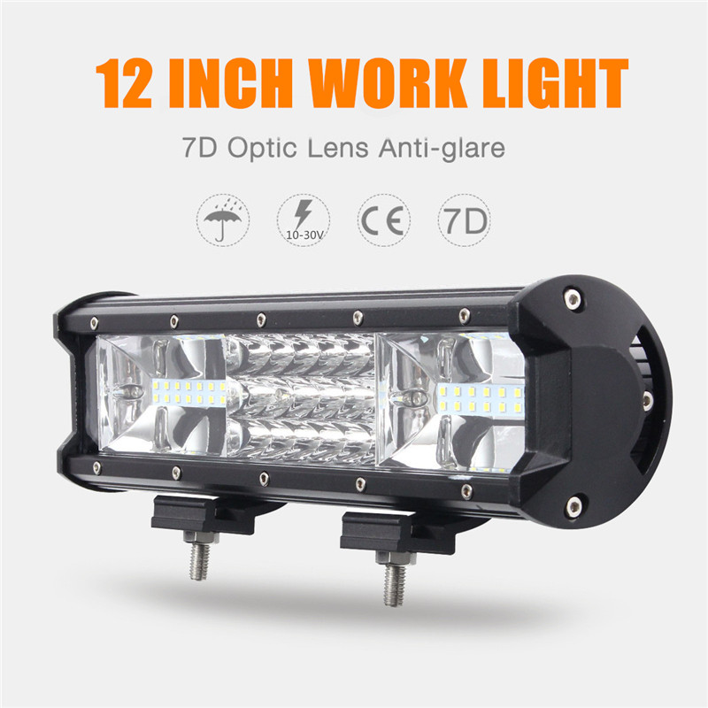 12Inch Spotlight Flood Lamp Combo 7D Tri Row 324W LED Work Light Bar Driving Fog Offroad LED Work Car Lights For Truck SUV 4WD 12 inch 72w led work light bar for indicators motorcycle driving offroad boat car tractor truck flood 4x4 suv 12 24v fog light